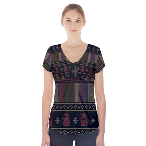 Tardis Doctor Who Ugly Holiday Short Sleeve Front Detail Top