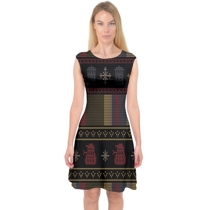 Tardis Doctor Who Ugly Holiday Capsleeve Midi Dress