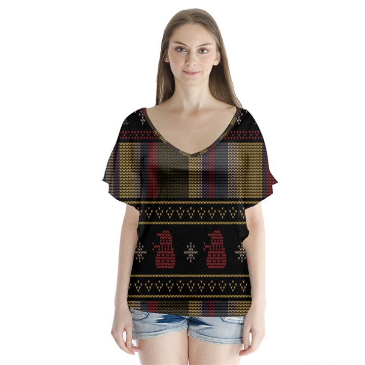 Tardis Doctor Who Ugly Holiday Flutter Sleeve Top