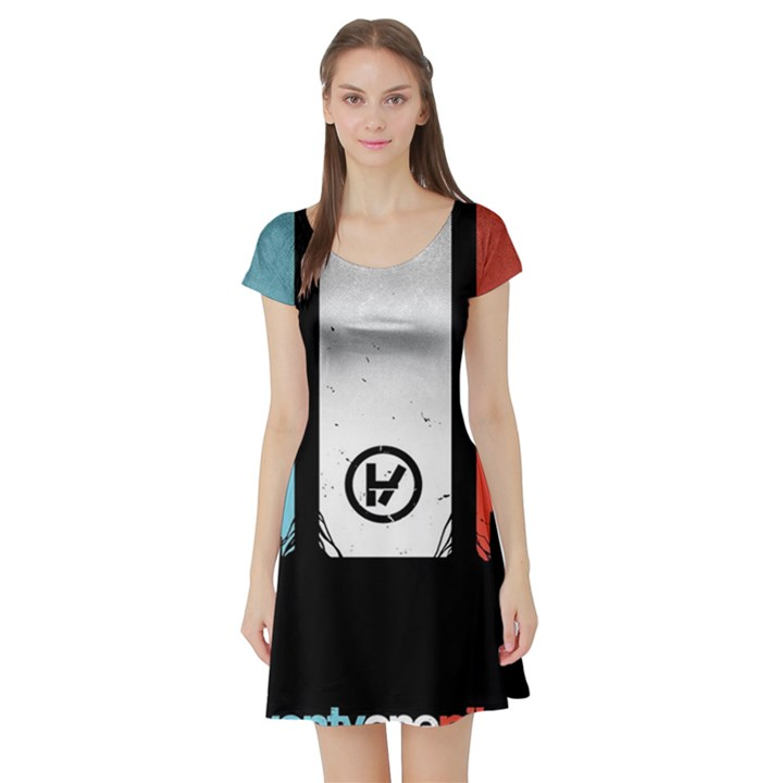 Twenty One 21 Pilots Short Sleeve Skater Dress