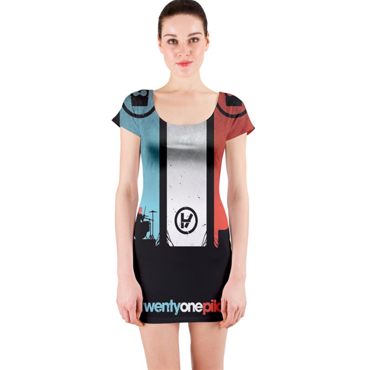 Twenty One 21 Pilots Short Sleeve Bodycon Dress