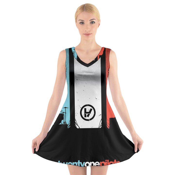 Twenty One 21 Pilots V-Neck Sleeveless Skater Dress