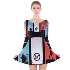 Twenty One 21 Pilots Long Sleeve Velvet Skater Dress
