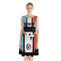Twenty One 21 Pilots Sleeveless Chiffon Waist Tie Dress