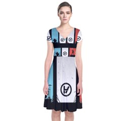 Twenty One 21 Pilots Short Sleeve Front Wrap Dress