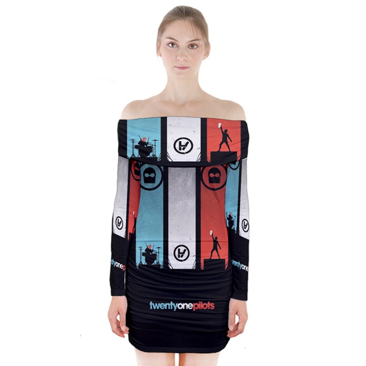 Twenty One 21 Pilots Long Sleeve Off Shoulder Dress