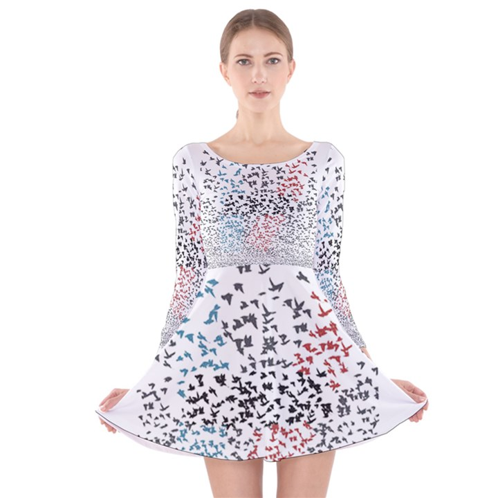 Twenty One Pilots Birds Long Sleeve Velvet Skater Dress