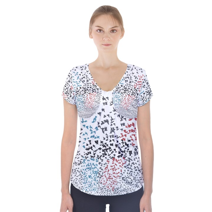 Twenty One Pilots Birds Short Sleeve Front Detail Top