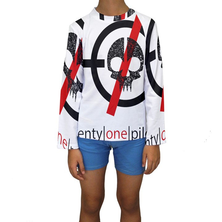 Twenty One Pilots Skull Kids  Long Sleeve Swimwear