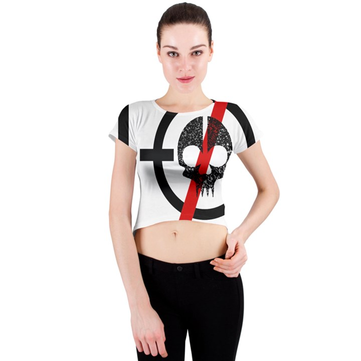 Twenty One Pilots Skull Crew Neck Crop Top