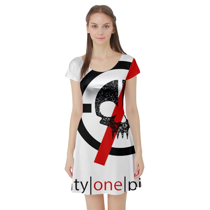 Twenty One Pilots Skull Short Sleeve Skater Dress