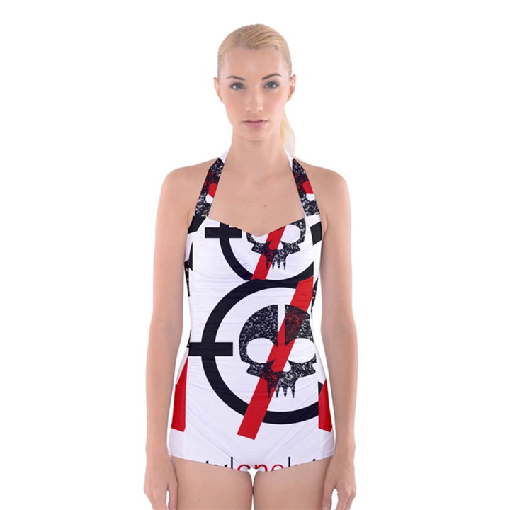 Twenty One Pilots Skull Boyleg Halter Swimsuit