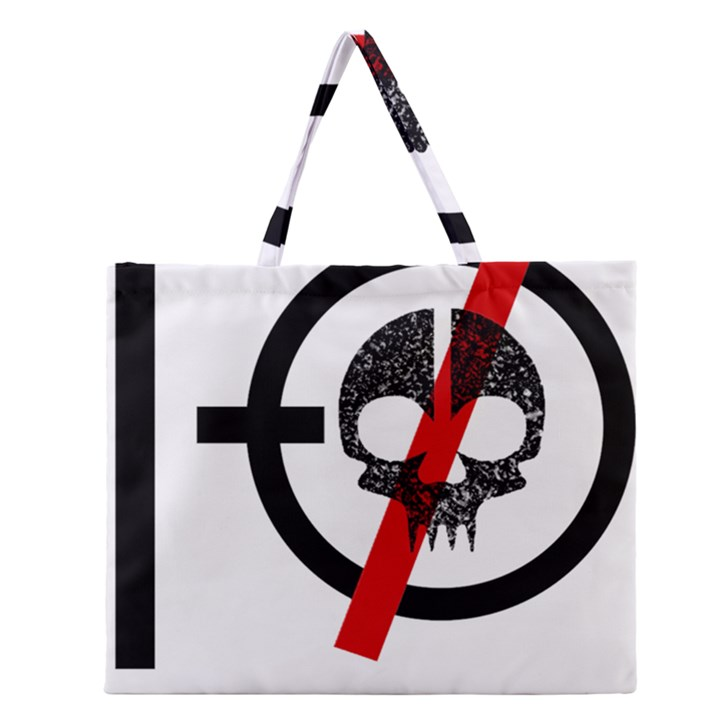 Twenty One Pilots Skull Zipper Large Tote Bag