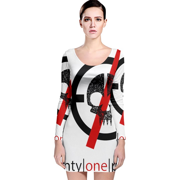 Twenty One Pilots Skull Long Sleeve Velvet Bodycon Dress