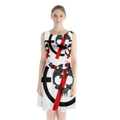 Twenty One Pilots Skull Sleeveless Chiffon Waist Tie Dress