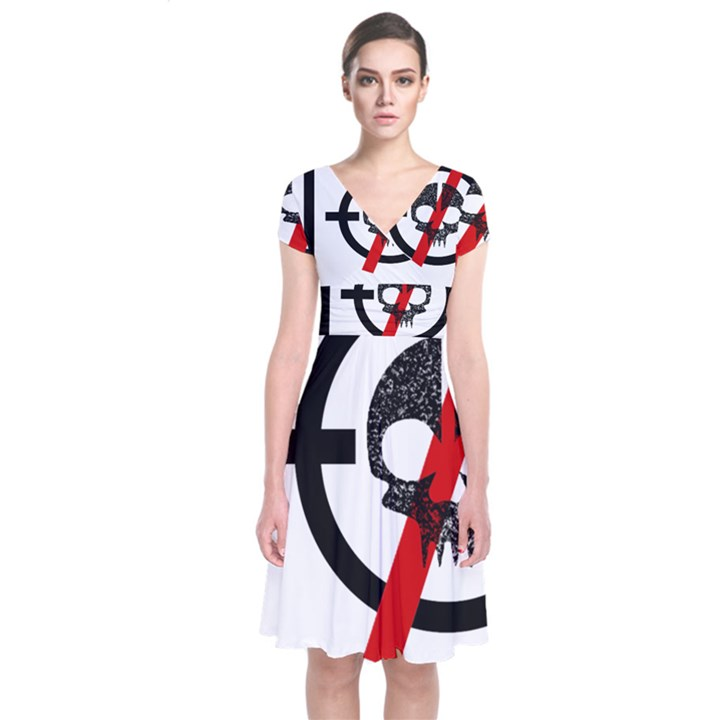 Twenty One Pilots Skull Short Sleeve Front Wrap Dress