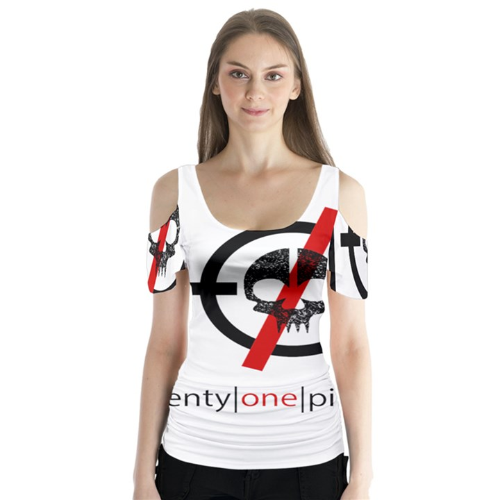 Twenty One Pilots Skull Butterfly Sleeve Cutout Tee