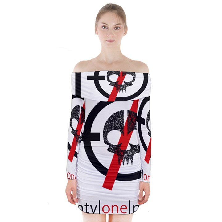 Twenty One Pilots Skull Long Sleeve Off Shoulder Dress