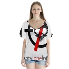Twenty One Pilots Skull Flutter Sleeve Top