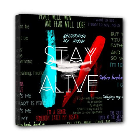 Twenty One Pilots Stay Alive Song Lyrics Quotes Mini Canvas 8  x 8