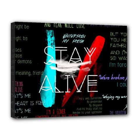Twenty One Pilots Stay Alive Song Lyrics Quotes Canvas 14  x 11