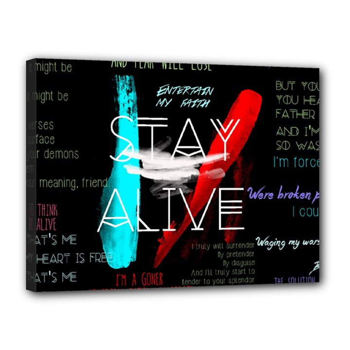 Twenty One Pilots Stay Alive Song Lyrics Quotes Canvas 16  x 12