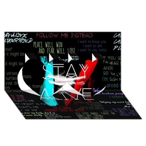 Twenty One Pilots Stay Alive Song Lyrics Quotes Twin Hearts 3D Greeting Card (8x4)