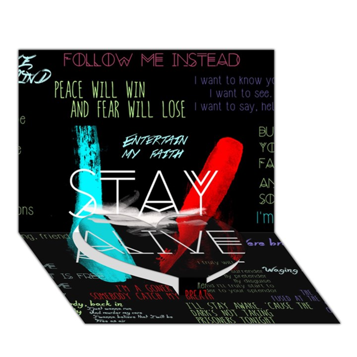 Twenty One Pilots Stay Alive Song Lyrics Quotes Heart Bottom 3D Greeting Card (7x5)