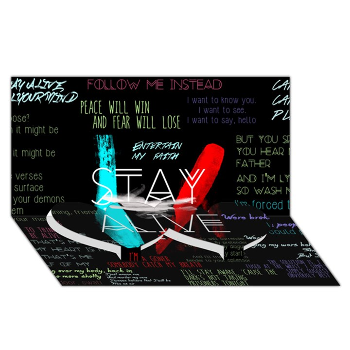 Twenty One Pilots Stay Alive Song Lyrics Quotes Twin Heart Bottom 3D Greeting Card (8x4)