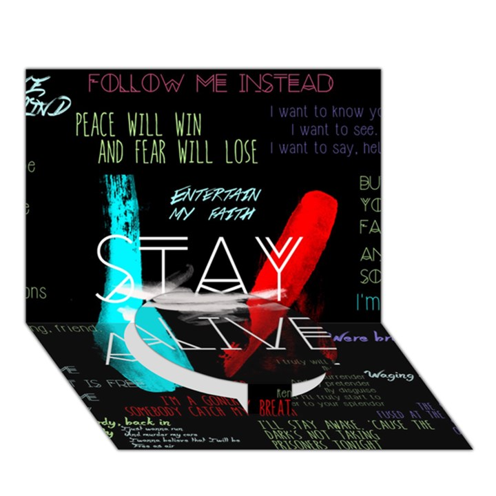 Twenty One Pilots Stay Alive Song Lyrics Quotes Circle Bottom 3D Greeting Card (7x5)