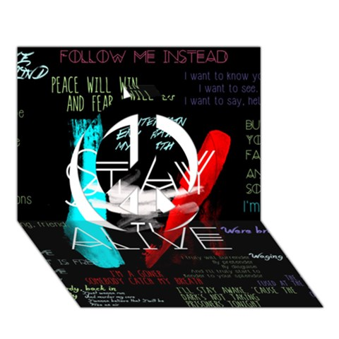 Twenty One Pilots Stay Alive Song Lyrics Quotes Peace Sign 3D Greeting Card (7x5)
