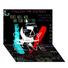 Twenty One Pilots Stay Alive Song Lyrics Quotes Ribbon 3d Greeting Card (7x5)