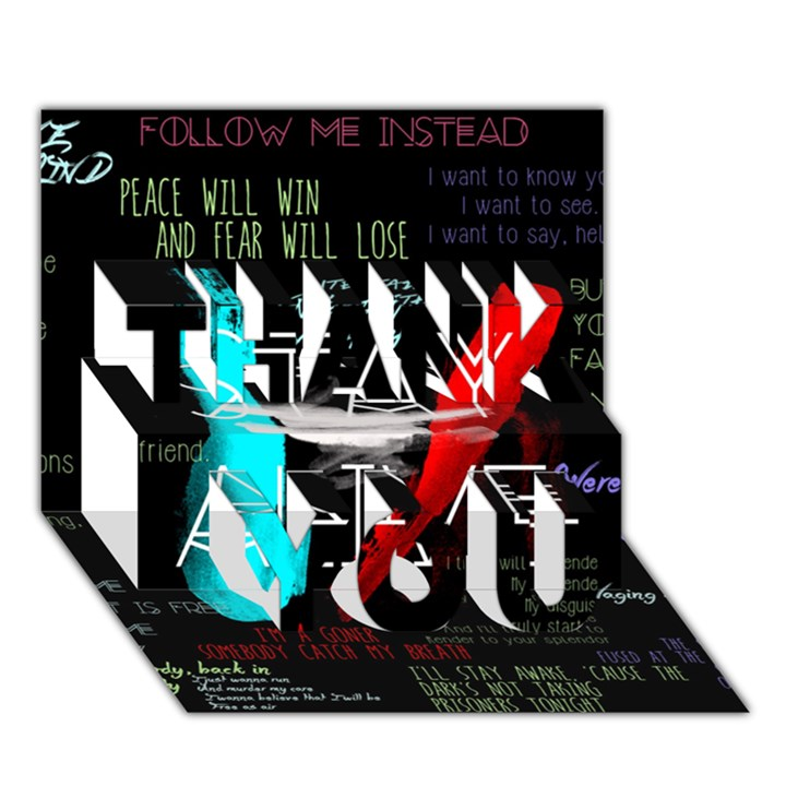 Twenty One Pilots Stay Alive Song Lyrics Quotes THANK YOU 3D Greeting Card (7x5)