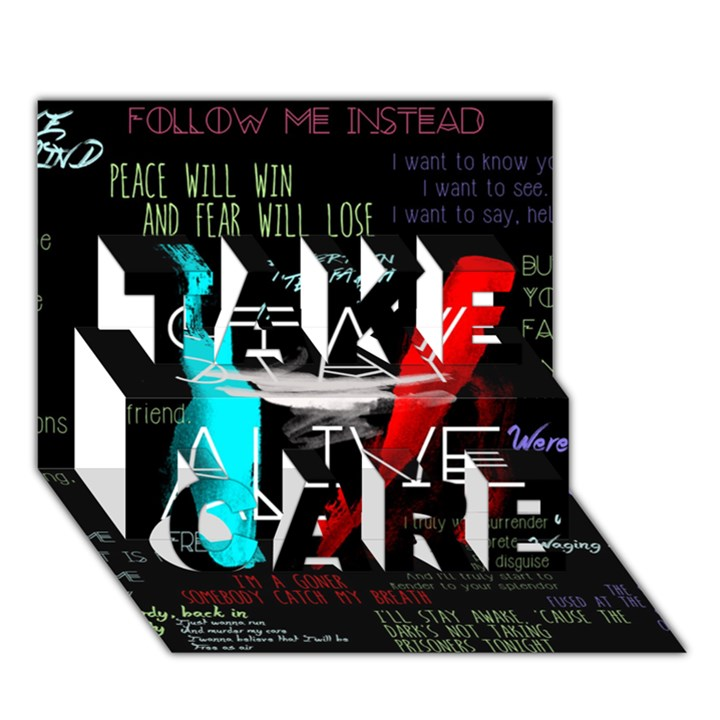 Twenty One Pilots Stay Alive Song Lyrics Quotes TAKE CARE 3D Greeting Card (7x5)