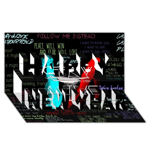 Twenty One Pilots Stay Alive Song Lyrics Quotes Happy New Year 3D Greeting Card (8x4)