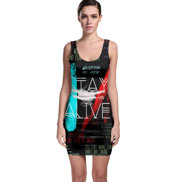 Twenty One Pilots Stay Alive Song Lyrics Quotes Sleeveless Bodycon Dress