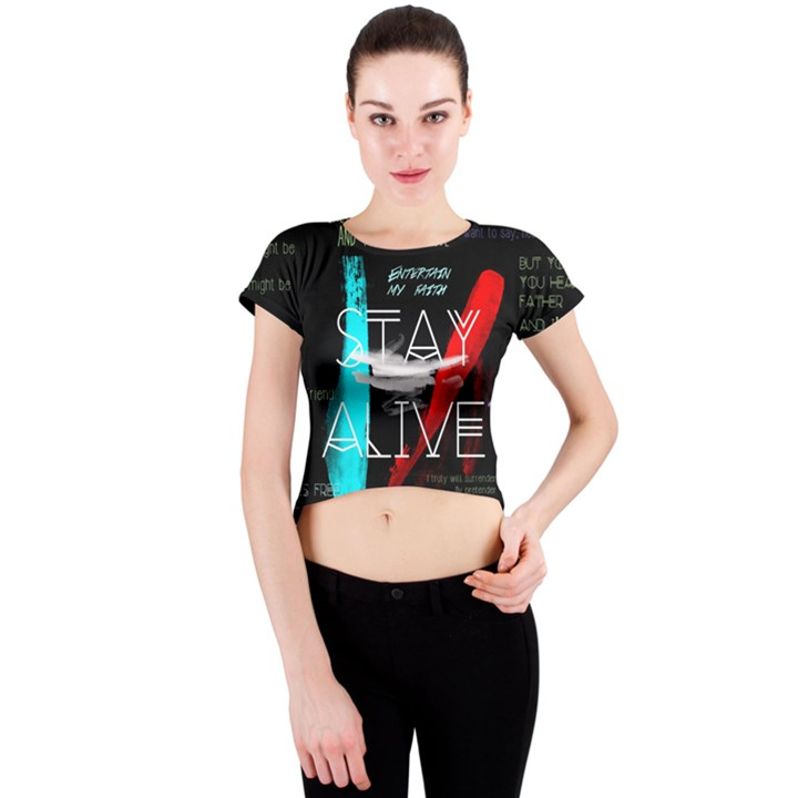 Twenty One Pilots Stay Alive Song Lyrics Quotes Crew Neck Crop Top