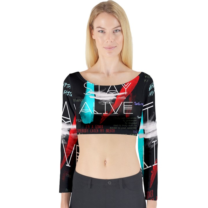 Twenty One Pilots Stay Alive Song Lyrics Quotes Long Sleeve Crop Top