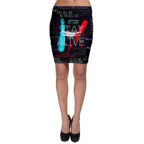 Twenty One Pilots Stay Alive Song Lyrics Quotes Bodycon Skirt