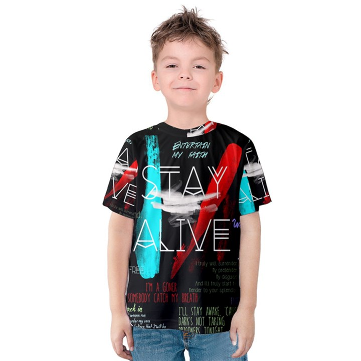 Twenty One Pilots Stay Alive Song Lyrics Quotes Kids  Cotton Tee