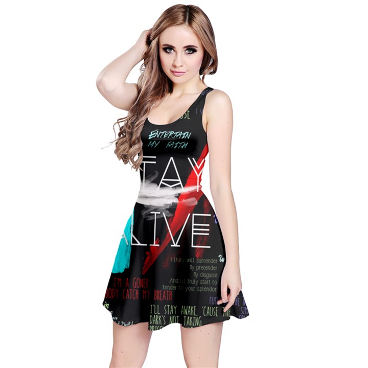 Twenty One Pilots Stay Alive Song Lyrics Quotes Reversible Sleeveless Dress