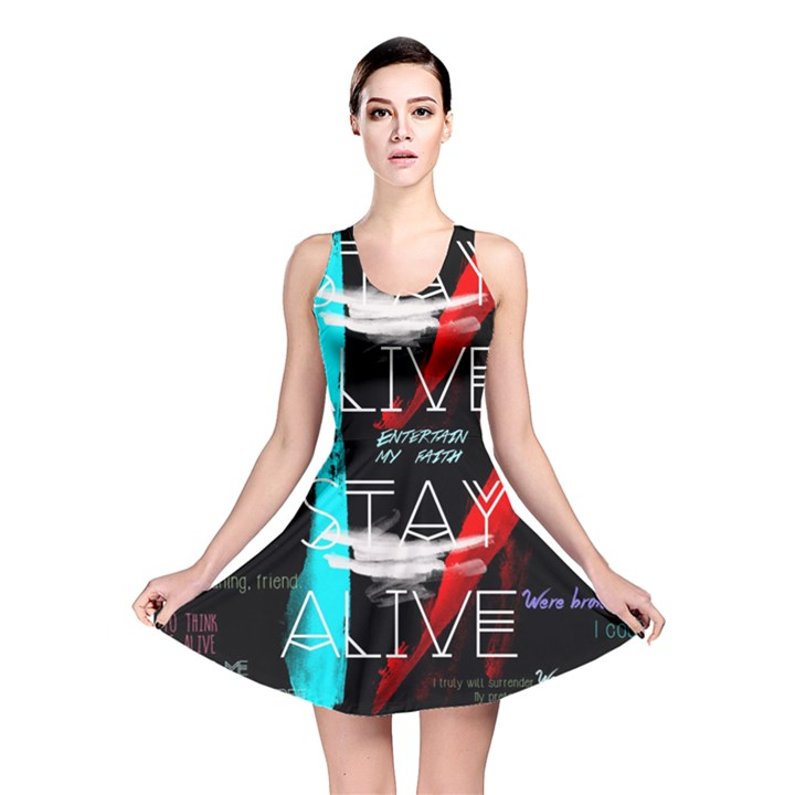 Twenty One Pilots Stay Alive Song Lyrics Quotes Reversible Skater Dress