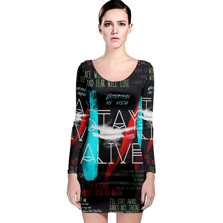 Twenty One Pilots Stay Alive Song Lyrics Quotes Long Sleeve Bodycon Dress