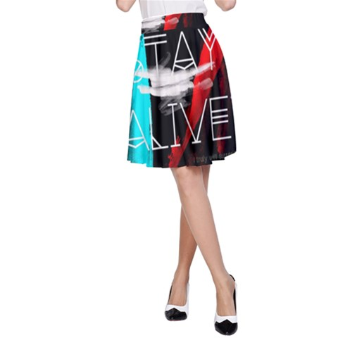Twenty One Pilots Stay Alive Song Lyrics Quotes A-Line Skirt
