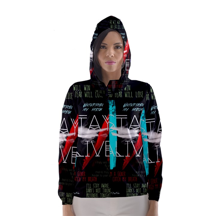 Twenty One Pilots Stay Alive Song Lyrics Quotes Hooded Wind Breaker (Women)