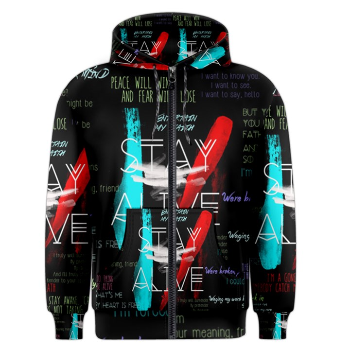 Twenty One Pilots Stay Alive Song Lyrics Quotes Men s Zipper Hoodie