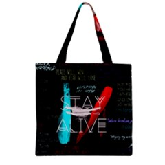 Twenty One Pilots Stay Alive Song Lyrics Quotes Zipper Grocery Tote Bag