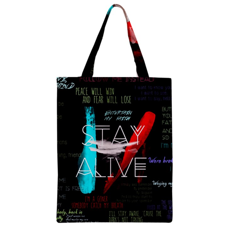 Twenty One Pilots Stay Alive Song Lyrics Quotes Zipper Classic Tote Bag