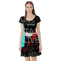 Twenty One Pilots Stay Alive Song Lyrics Quotes Short Sleeve Skater Dress
