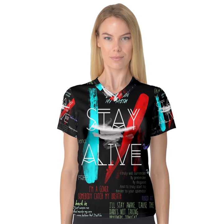 Twenty One Pilots Stay Alive Song Lyrics Quotes Women s V-Neck Sport Mesh Tee